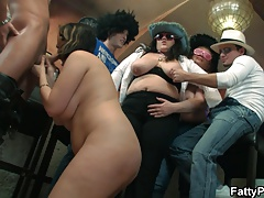 Bbw group orgy with chubby party girl