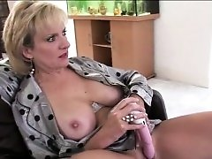 Gorgeous Big Boob Amateur MILF Fucks Cunt With Dildo