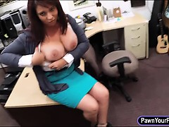 Busty milf fucked to earn money to bail out her hubby