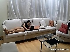 Lonely wife masturbates to porn while the husband is at work