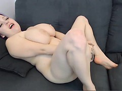 Chubby babe with huge tits masturbating with toys