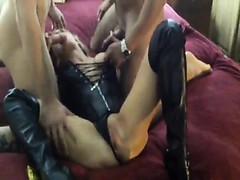 Hot Milf Double Fucked With Shoes on