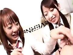 Two Japanese lesbians take turns eating pussy and licking b