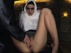Hungry Arab babe sucks and fucks a huge cock