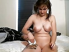 Chubby tatooed girl sucking riding cock Cum on face