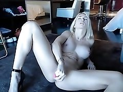 Blonde webcam goddess 20 - black dress and heels squirt