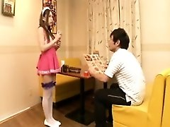 Flexible Japanese girl in tight white panties takes herself